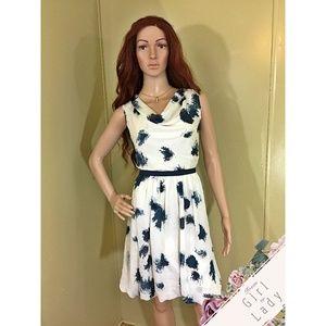 Ann Taylor LOFT Sz 6 White Blue Cowl Dress